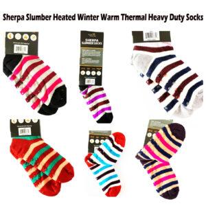 43635 SHERPA SLUMBER NON-SLIP GRIPS HEATED WINTER WARM SOCKS
